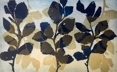 """Wild Witch Hazel 3"", abstract aquatint monoprint plant study, deep blue, gold."