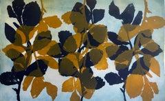 """Wild Witch Hazel 6"", abstract aquatint print plant study, yellow ochre, blue."