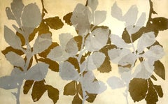 """""""Wild Witch Hazel 8"""", abstract aquatint print plant study, raw umber and silver."""