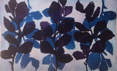 """""""Wild Witch Hazel Two"""", abstract aquatint print plant study, deep violet, blue."""