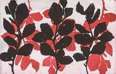 """Witch Hazel"", abstract plant-study sugar lift, aquatint print, deep red, black."