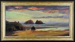 Holywell Bay, Newquay, North Cornwall. Original oil painting by Nancy Bailey.