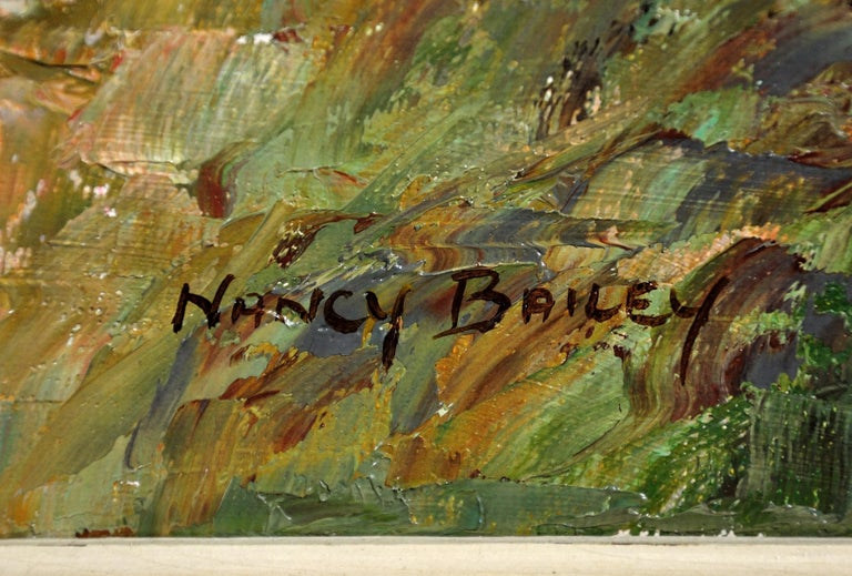 This original oil painting by Nancy Bailey is presented and supplied in its original frame (which is shown in these photographs).  The frame dimensions are 64.5cm high x 115cm wide. The visible painting dimensions are 49.5cm high x 100cm wide