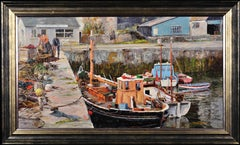Working Boats, Porthleven, Cornwall.Original Oil Painting.Impasto.Harbour.Quay.