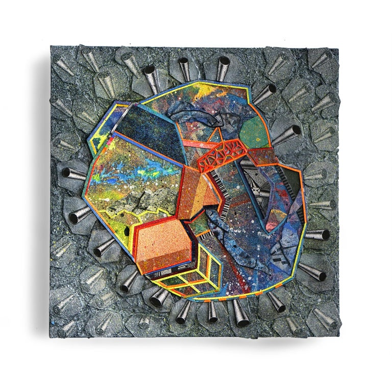 Nancy Baker, Cave, 2018, painting, collage on board, 12 x 12 inches - Painting by Nancy Baker