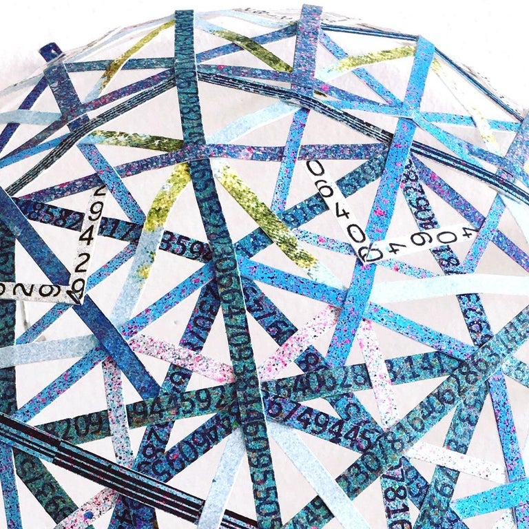 Nancy Baker, Blue Pi, 2017, paper, acrylic paint, digital pigment print - Abstract Geometric Mixed Media Art by Nancy Baker