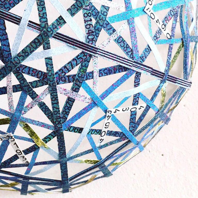 Nancy Baker, Blue Pi, 2017, paper, acrylic paint, digital pigment print For Sale 1