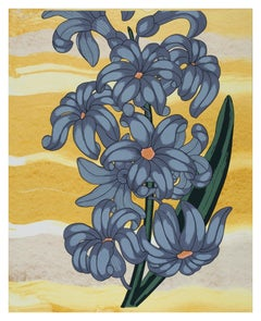 Blue on Gold, Botanical Silkscreen Print, Periwinkle Flower with Green on Yellow