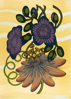 Hanging Flowers, Botanical Silkscreen Print, Orange, Mauve Taupe Flowers, Yellow