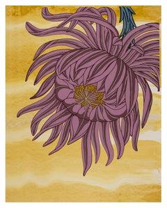 Mauve on Gold, Botanical Silkscreen Print, Mauve Flower with Blue Gray on Yellow