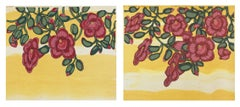 Red Pink on Gold, Botanical Silkscreen Print, Dark Coral Flowers on Yellow