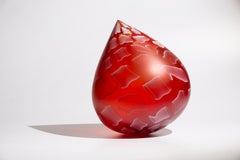 """Amarone Droplet"", Contemporary, Blown, Glass, Sculpture, Patterned, Surface"