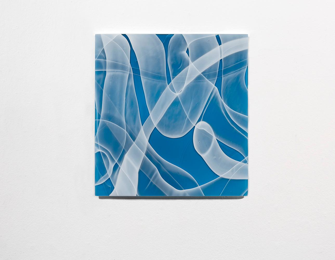 """""""Blue Zooid Forest 01"""", Contemporary, Blown Glass, Sculpture, Wall Mounted"""