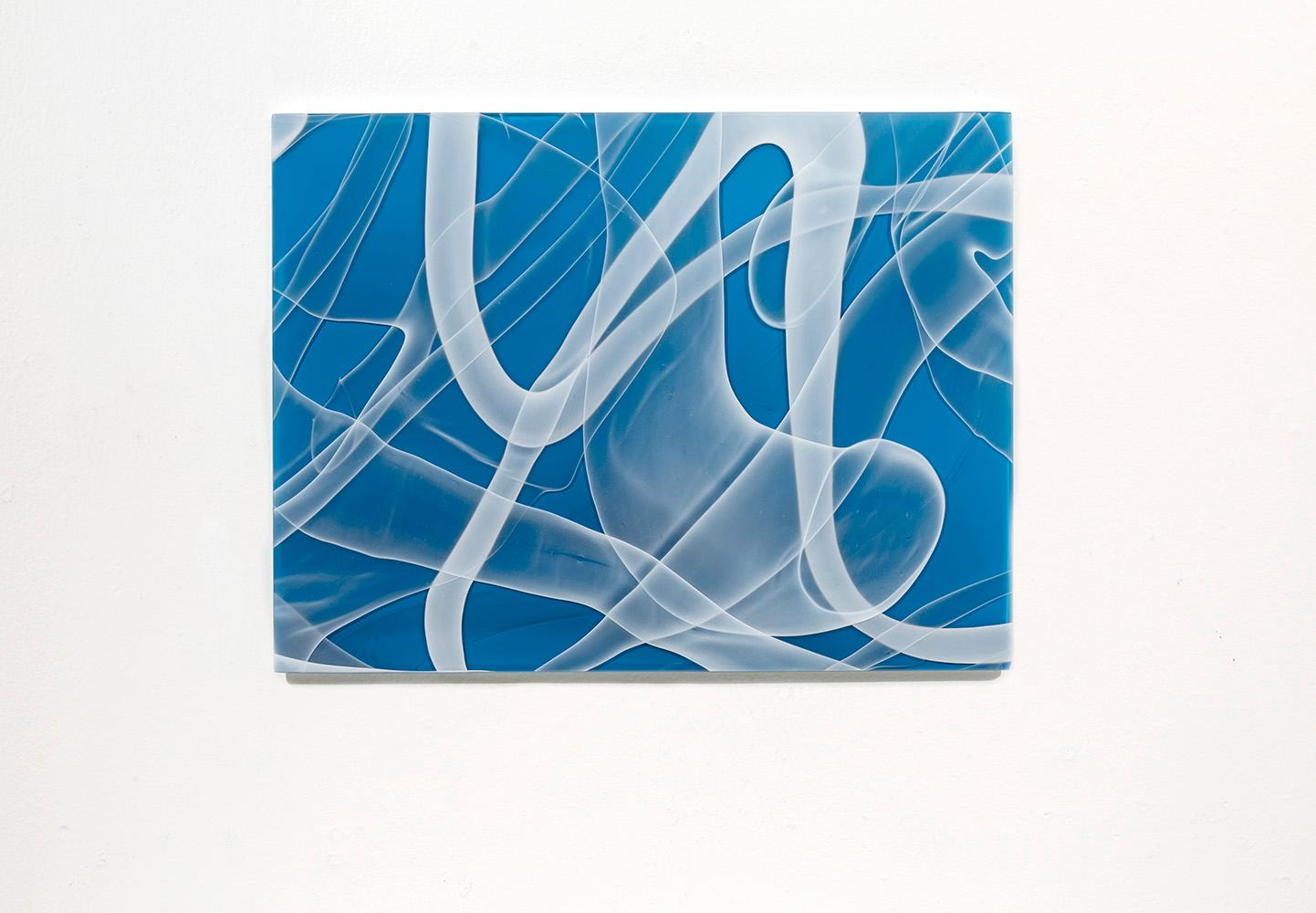 """""""Blue Zooid Forest 06"""", Contemporary, Blown, Slumped, Glass, Panel, Abstract"""