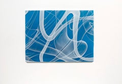 """Blue Zooid Forest 06"", Contemporary, Blown, Slumped, Glass, Panel, Abstract"