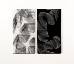 Calligraphy Diptych, Contemporary Wall Mounted Blown and Slumped Glass Sculpture