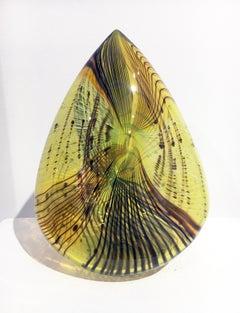 """Mojave Clovis"", Contemporary Blown Glass Sculpture, Brightly Colored"