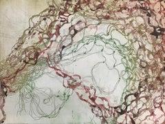 """""""Liquid Sound 28"""" soft ground waterscape monoprint, gold, green, pink magenta."""
