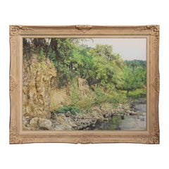 Texas Realistic Riverbed / Riverbank Naturalistic Landscape Painting