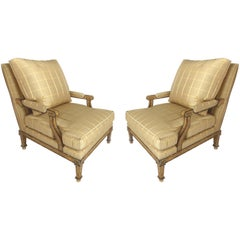 Nancy Corzine Neoclassical Fauteuil Armchairs with Silk Upholstery and Down