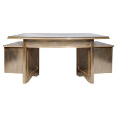 Nancy Corzine Silver Gilt Writing Desk in the Art Deco Style