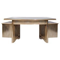 Nancy Corzine Silver Gilt Writing Desk in the Art Deco Style