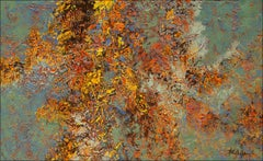 """""""Abundant Autumn"""" Mixed Media abstract with textural reds, orange,green, purples"""