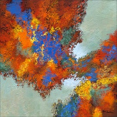 """""""Autumn Sky  Mixed Media abstract with textural golds, blue, red and lavender"""