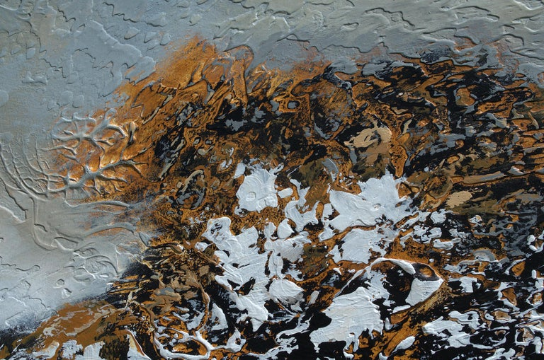 Exhibiting the bold colors and textures that her work is known for,