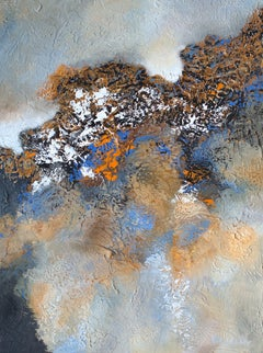 """""""Backlit"""" Mixed Media abstract with textural greys, blues, and lavender"""