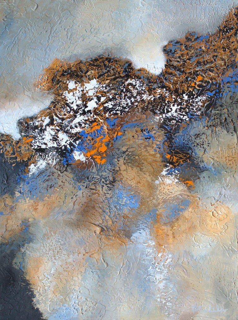 """""""Backlit"""" Mixed Media abstract with textural greys, blues, and lavender - Mixed Media Art by Nancy Eckels"""