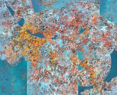 """""""Can't Fix Wild"""" Mixed Media abstract with textural blues, orange and reds"""