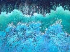 """""""Churning"""""""" Mixed Media abstract with textural greens, blues and aquas"""
