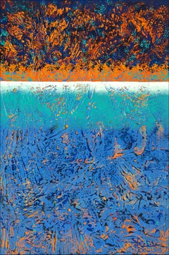 """Early Sea Light"" Mixed Media abstract with textural greens, blues and oranges"