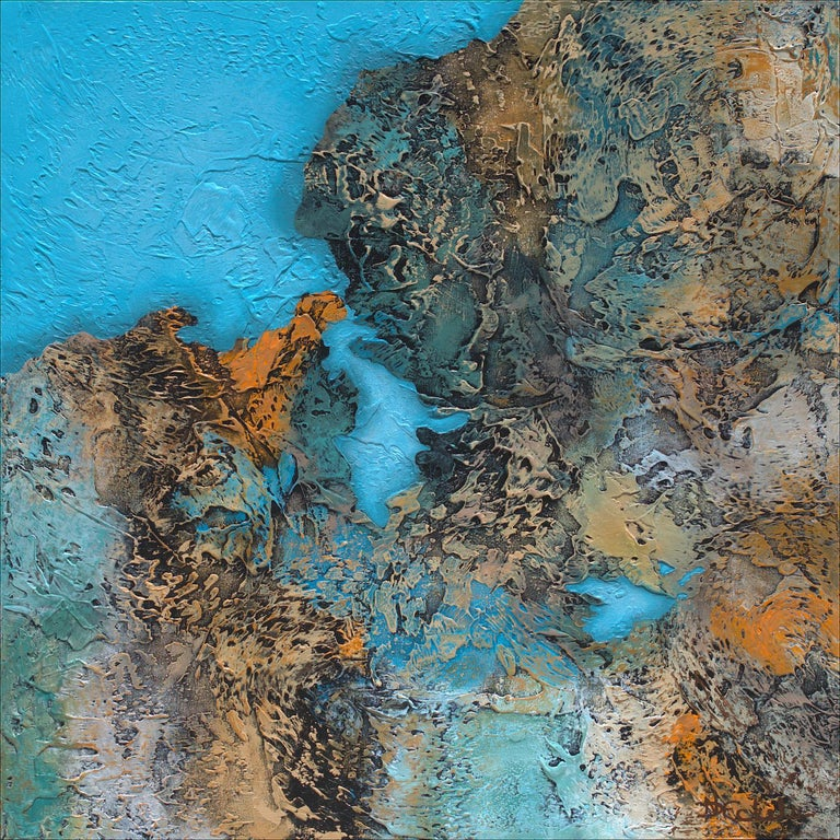 """""""Hidden Lagoon""""  Mixed Media abstract with textural greens, blues and gold  - Mixed Media Art by Nancy Eckels"""