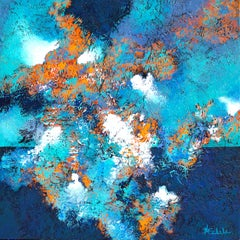 """Hidden Source"" mixed media abstract painting with textural aquas and blues"