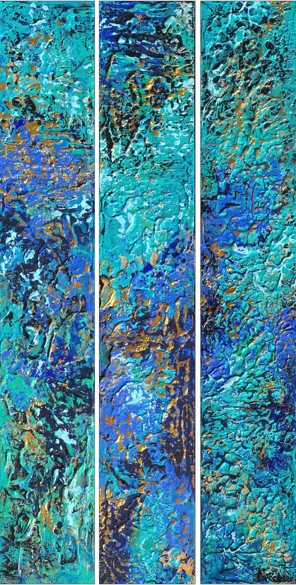 """""""Imagine Cool Triptych"""" Mixed Media abstract with textural blues, aqua, and gold"""