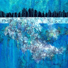 """""""Lake Effect"""" Mixed Media abstract with textural blues, white and lavenders"""