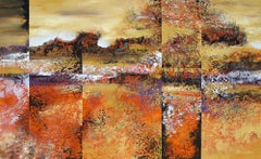 """Landscape Prism"" large abstract painting with textural golds, black and oranges"