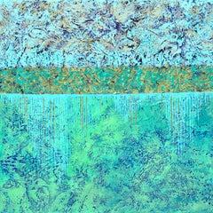 """Liquid Treasure"" Mixed Media abstract with textural blues, teal, metallic gold"