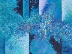 """""""Mixin' With The Blues"""" Mixed Media abstract with textural blues and lavenders"""