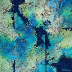 """""""Ocean Bits"""" Mixed Media abstract with textural greens, blues and aqua"""