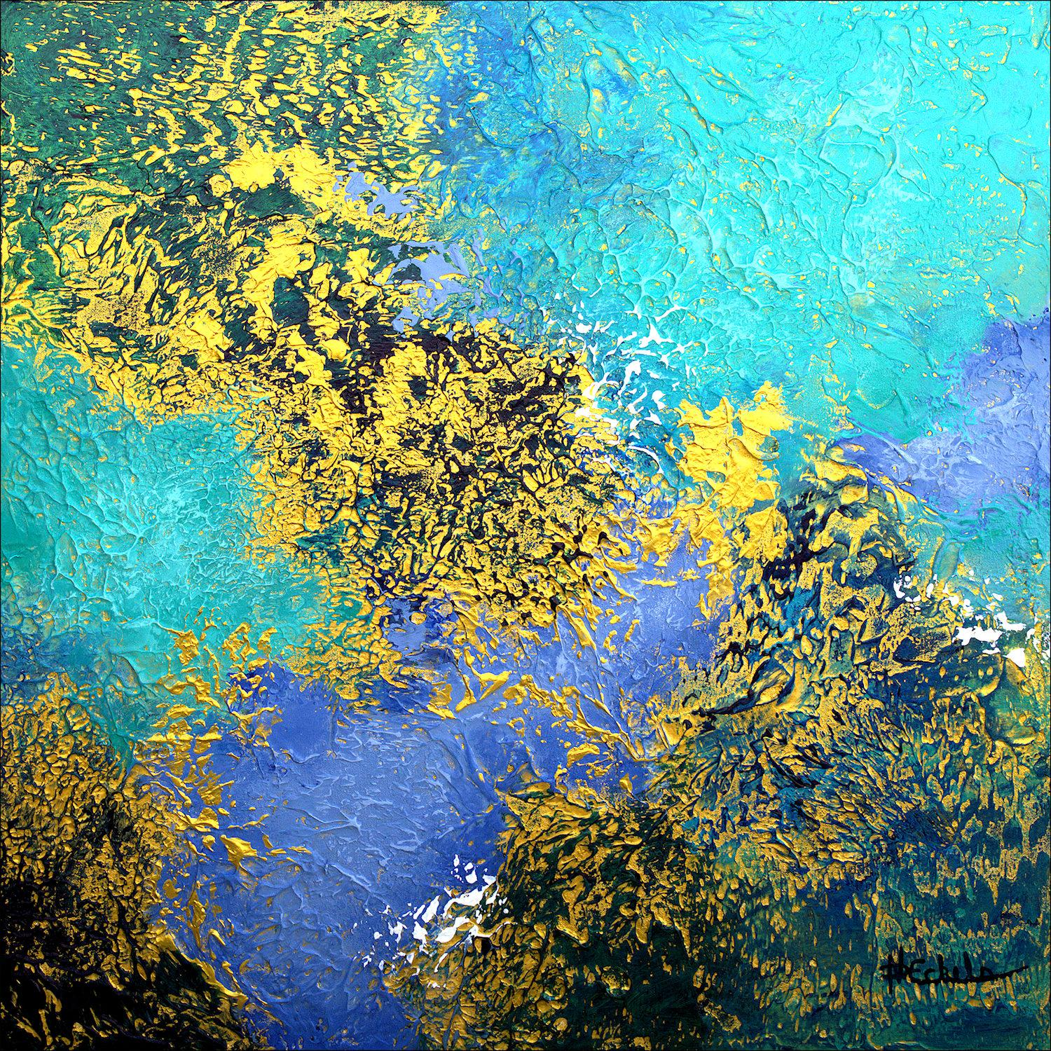 """""""Ocean Highlights"""" Mixed Media abstract with textural greens,blues,gold metallic"""