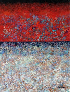 """Pure Emotion"" Mixed Media abstract with textural reds, blues, and lavender"