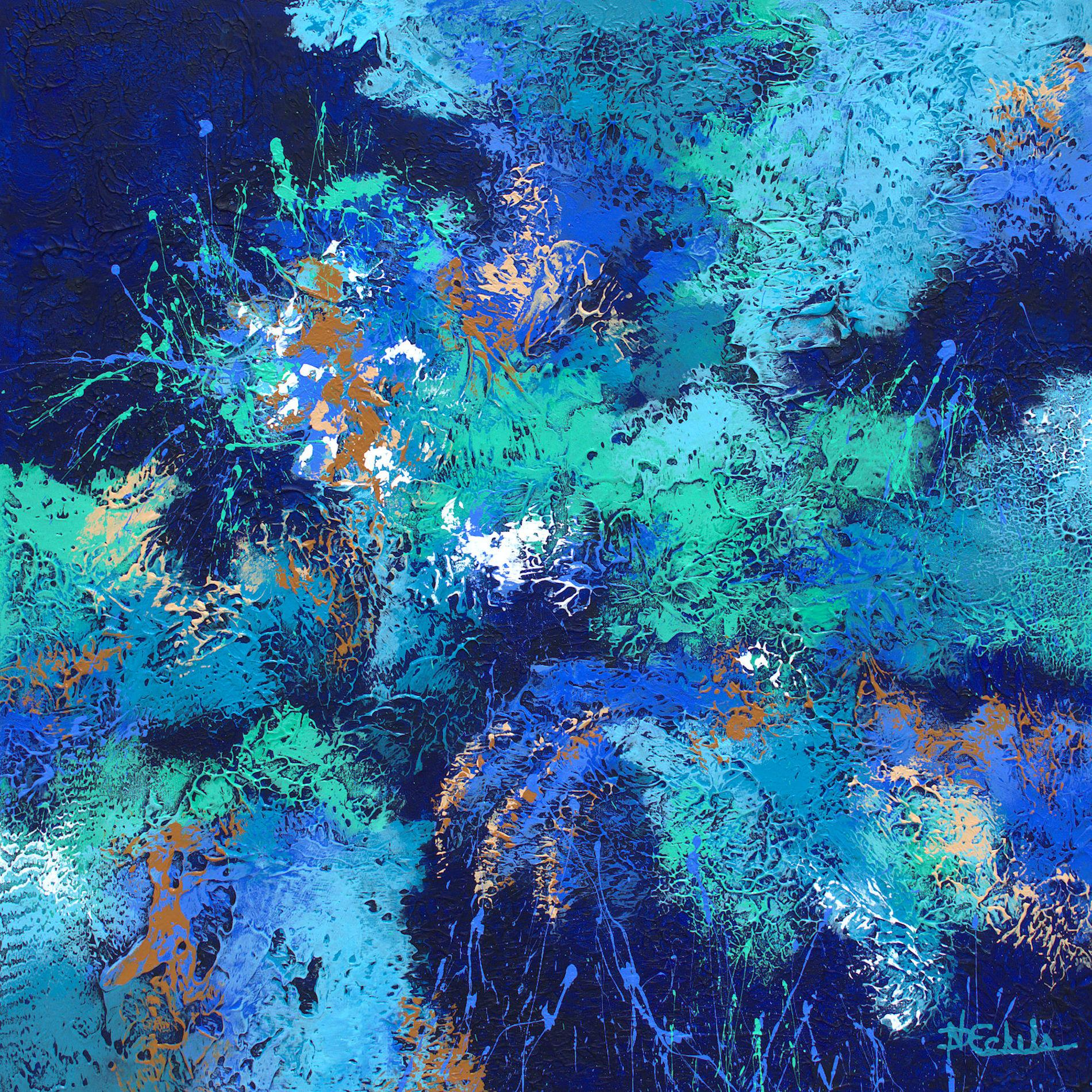 """""""Splash and Splatter"""" Mixed Media abstract with textural blues, aqua and purple"""