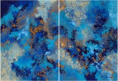 """""""Swirling Tides"""" Mixed Media abstract with textural blues, white and tans"""