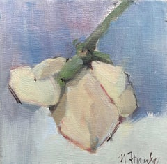 Budding by Nancy Franke, Small Floral Impressionist Oil Painting