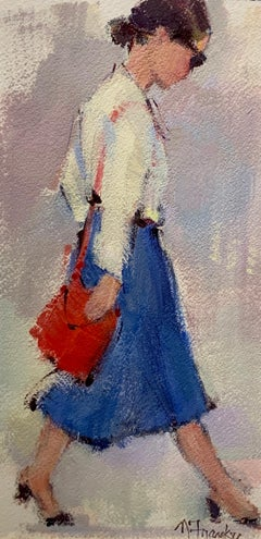 Le Shopping by Nancy Franke, Framed Acrylic on Cold Pressed Paper Painting