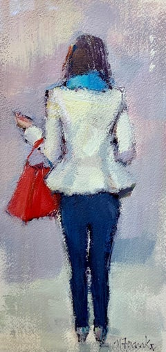 Meet Me at Café de Flore by Nancy Franke, Small Framed Figurative Painting