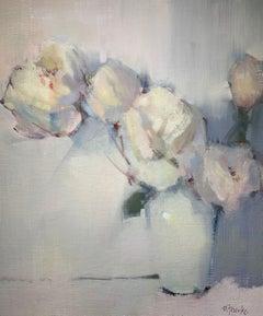 Pale Grace by Nancy Franke, Medium Floral Impressionist Oil Painting